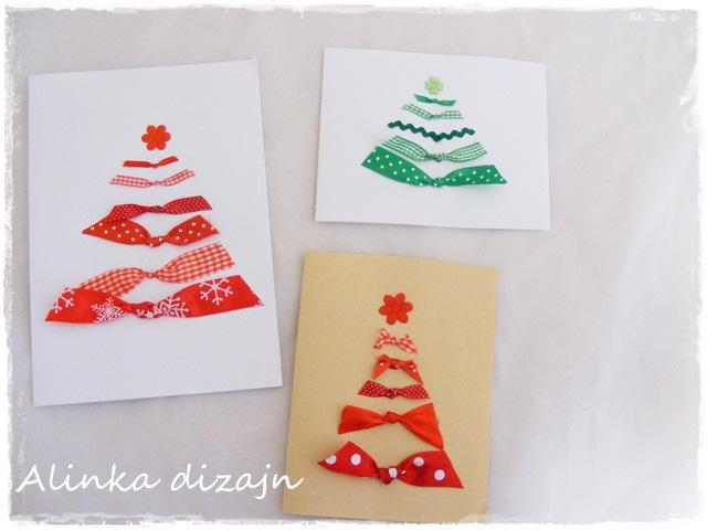Vianočné pohľadnice so stužkami