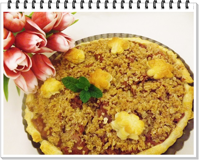 Rebarborovo-jablkový koláč s posýpkou