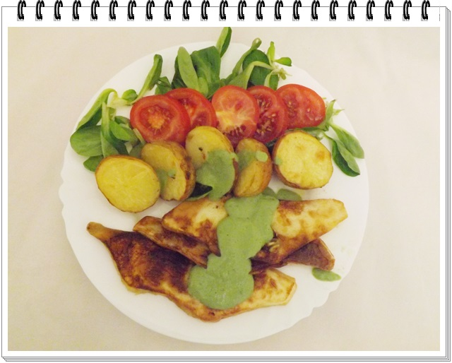 Patizón s novými zemiakmi a dressingom