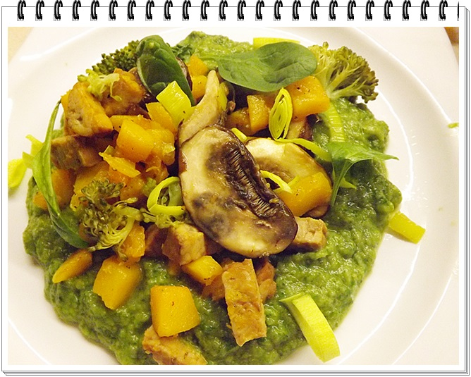 Brokolicovo-špenátový pretlak s tekvicou a šampiňónmi