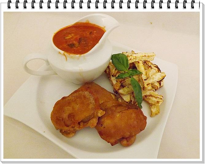 Tofu nugetky so zelerovými hranolkami a paradajkovo-avokádovým dipom