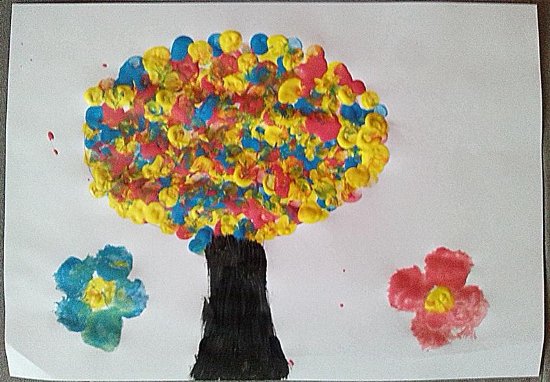 Jesenný strom prstovou metódou