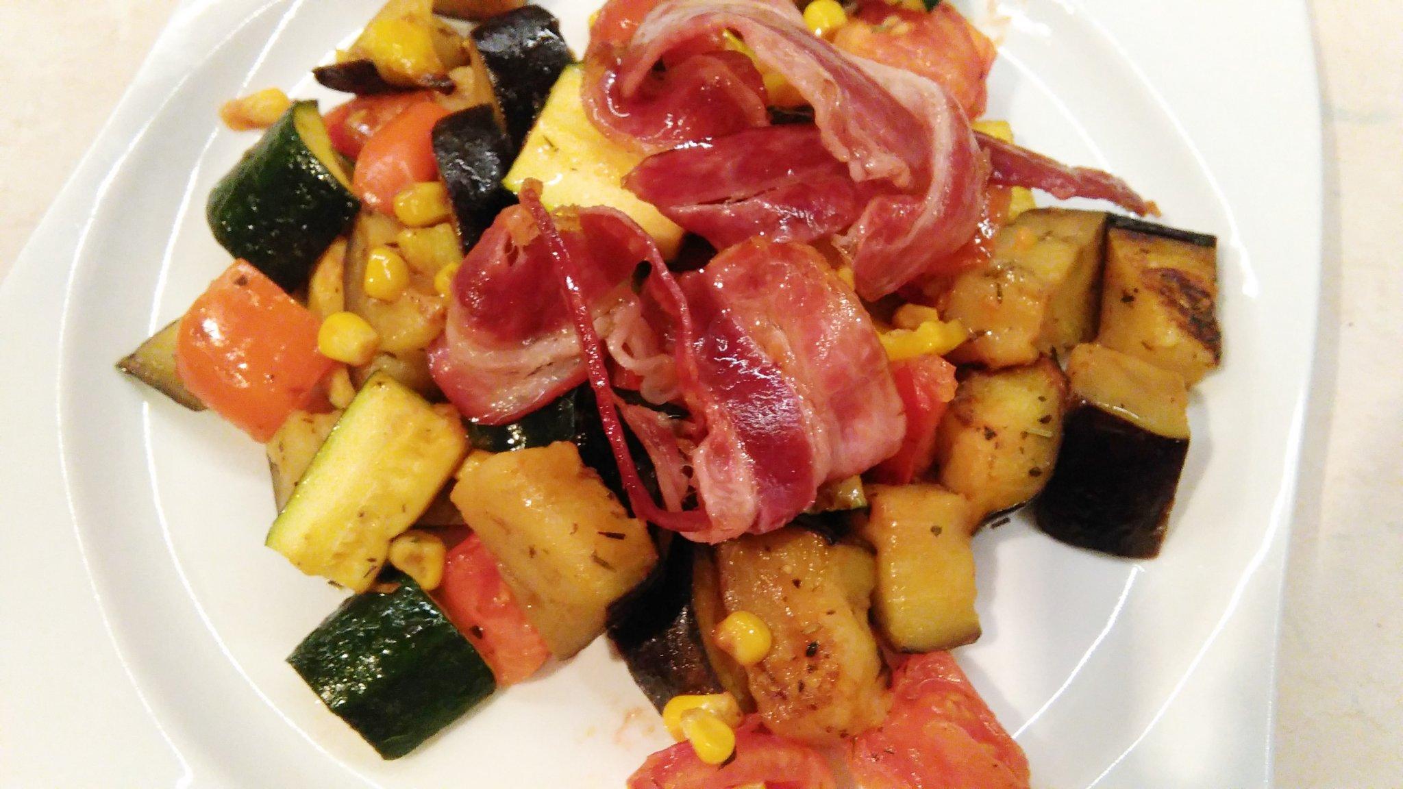 Grilovaná zelenina so slaninkou